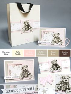 """Djudi'Scrap Stampin'Up! - Tutoriel Carte Naissance à secouer (Shaker Card) et Sac coordonné """"Set Bébé Ourson / Baby Bear"""""""