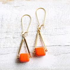 Neon Block Earrings in Orange