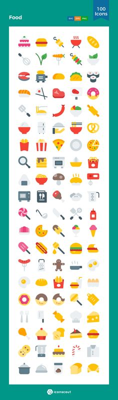 Food  Icon Pack - 100 Flat Icons