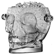 Brain Freeze Glass Skull Ice Bucket from geek armory