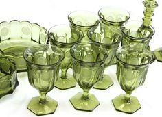 coin glass glassware | OLIVE GREEN FOSTORIA COIN PATTERN GLASSWARE