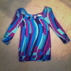 Squareneck, multi-striped top Brightly colored top, banded at bottom, very light & soft. Never worn! Tops