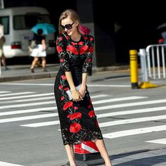 Famous brand Runaway  2016 Newest  Spring Fashion Slim Elegant Lace Ebroidery Red Flower  Vintage Black Casual Long Dress Women alishoppbrasil