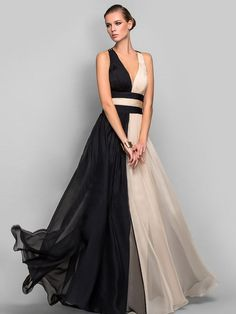 TS Couture Formal Evening Military Ball Dress - Vintage Inspired Beautiful Back Color Block A-line Princess V-neck Floor-length Chiffon 2017 - Black Evening Dresses, Elegant Dresses, Pretty Dresses, Evening Gowns, Evening Party, Evening Dresses Plus Size, Ball Dresses, Prom Dresses, Formal Dresses