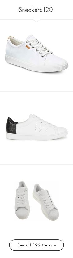 """""""Sneakers [20]"""" by gdavilla ❤ liked on Polyvore featuring shoes, sneakers, white, airport friendly shoes, ecco, ecco trainers, long shoes, white trainers, white sneakers and black leather sneakers"""