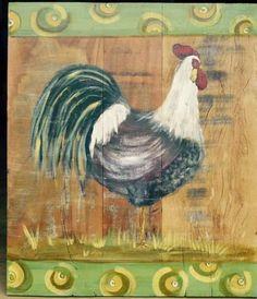 Quadro/painel em madeira de demolição com pintura artesanal (galo). tamanho: 0.60cm x 0.70cm