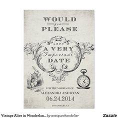 Vintage Alice in Wonderland Save the Date Card