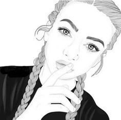 girl drawing black and white Tumblr Girl Drawing, Art Tumblr, Tumblr Drawings, Tumblr Girls, Outline Drawings, Cool Drawings, Drawing Sketches, Drawing Ideas, Drawing Tips