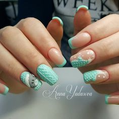 Bears nails, Christmas nails, New Year nails 2018, New year nails ideas 2018, Turquoise nails, Winter french nails, Winter nail art, Winter nails 2018