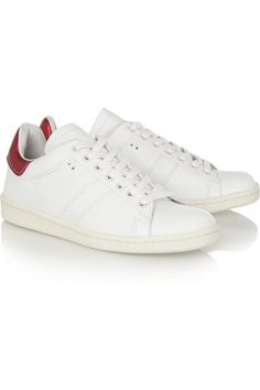 """Isabel Marant """"Bart"""" Shoes - Concealed wedge heel measures approximately 20mm/ 1 inch White leather Lace-up front"""