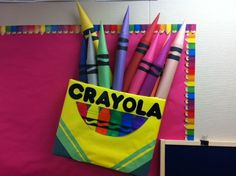 Bulletin Board idea--box of crayons 3-D art. I used a cardboard box. Rolled construction paper for the crayons.