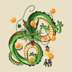 Awesome 'Shenron+Dragon+with+Dragonballs' design on TeePublic!