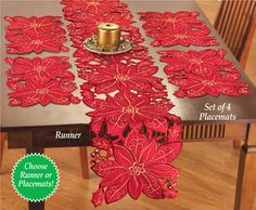 Openwork Christmas Poinsettia Table Linens