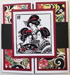 Gatefold band three geisha stamp. Card by Rosanne Stead.