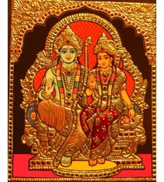 Tanjore Painting of Seeta and Ram Hindu Deities, Hinduism, Art Forms Of India, Lord Balaji, Indian Goddess, Tanjore Painting, Goldwork, Indian Folk Art, Religious Icons
