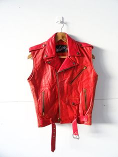 Vintage Lamb Skin Leather Biker Jacket Vest by MrSmithVintage, $75.00