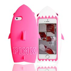 Iphone Case,  Victoria's Secret PINK 3D PINK Shark Fish Silicone Cute Case Cover for Apple iPhone