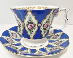 Royal Albert Tea Cup and Saucer, Sandringham Pattern, Royal Series, English Bone China Cups, Antique Tea Cups, Vintage Tea Cups