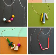 """I think the article that best depicts the Fall issue's theme is """"Simplicity in Design"""". We wanted to include a necklace by Rachel Wightman of Not Tuesday in the article, but with her focus on wholesale & online sales, we couldn't get a photo with high enough resolution for print. Gladly, we're able to share her unusual color sense and simple designs here. Get tips for image sizes and check out Rachel's site & Etsy store at The Polymer Arts magazine blog…"""