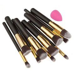 10Pcs Makeup Cosmetic Eyeshadow Blush Brush Brushes Set Kit for Kabuki Jessup #Unbranded