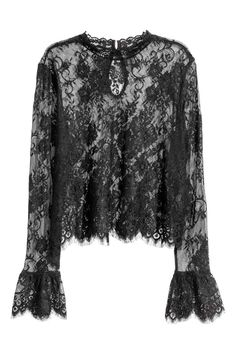Short lace blouse with a small stand-up collar, opening at back of neck with button, and long sleeves with a flounce at cuffs. Look Fashion, Hijab Fashion, Couture Fashion, Black Lace Blouse, Frill Blouse, Collar Blouse, Lacy Tops, Metallic Skirt, Professional Dresses