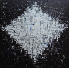 Space & Time - Acrylic on Canvas Custom Wall Art Painting - Black, White, Blue, Grey - Artezoid by Dawn Valdez