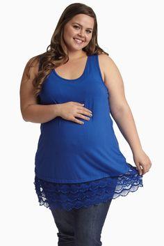 3fb39228d3a Blue Lace Trim Racerback Plus Size Maternity Tank Top