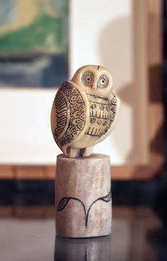 'Owl' by Matt Caines (shed antler and taga nut)