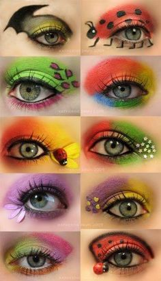 So i found a load of eye looks i like a few i have to say my favorite one would have to be the lime green on the lid and the pink eyeliner,it`s very bold