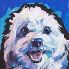 fun CAVACHON portrait dog art print of original by BentNotBroken