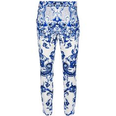 ROBERTO CAVALLI paisley slim cropped trouser (3.250 VEF) ❤ liked on Polyvore featuring pants, capris, jeans, bottoms, calça, trousers, paisley print pants, blue cropped pants, roberto cavalli pants and slim pants