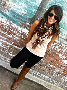 sunglasses white top scarf long brown boots black pants leggings summer casual street women fashion style apparel outfit clothing
