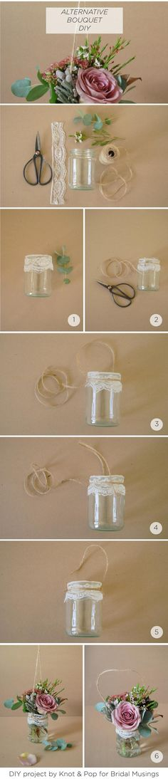Mason jars + twine become beautiful aisle decorations when filled with your favorite flowers!