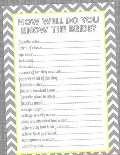 Special Wednesday Top 5 Free Printable Bridal Shower Games |another how well do you know the bride :-) @Whitney Clark Clark McKay @Kendra Henseler Henseler Ferguson