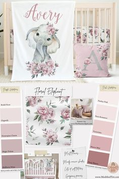 LOVE this floral crib bedding for an elephant nursery, it's gorgeous! Baby Girl Nursey, Baby Girl Crib Bedding, Baby Girl Nursery Themes, Girl Nurseries, Baby Girl Room Themes, Nursery Ideas, Elephant Themed Nursery, Baby Girl Elephant, Rose Nursery