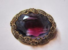 Vintage Rhinestone Two Toned Stone Brooch W Germany by PickersFan, $18.50