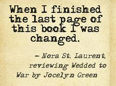 Quote from Novel Reviews book review of Wedded to War by Jocelyn Green