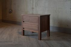 shaker walnut 2 drawer bedside