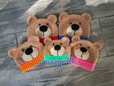 Teddy Bear Hat: cute #crochet pattern for purchase