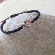 Delicate  Rose gold flower pendant macrame/friendship  bracelet