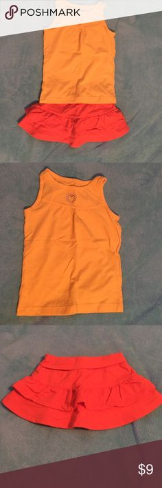 👚👖Girls Cute Summer Outfit👚👖 Really cute girls summer outfit!! Yellow tank top and orange skirt with shorts on the inside!! If you are just wanting to buy one let me know!!! One is from Circo and the other Basics Editions!!! Circo Shirts & Tops Tank Tops