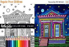 50% Off Today- Mardi Gras French Quarter coloring, New Orleans coloring book, adult coloring book, coloring pages