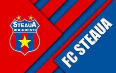 Download wallpapers FC Steaua Bucuresti, 4k, logo, material design, Romanian football club, blue red abstraction, Liga 1, Bucharest, Romania, football, FC Steaua, FCSB