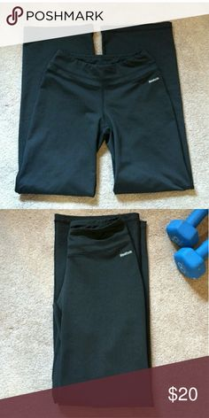 Reebok boot cut workout pants!! Only worn once! Loose fitting, size small but could probably fit a medium as well! Very comfortable just too big for me. 31 in inseam. Also too long for me as I'm 5'4. Reebok Pants