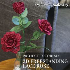 3D Freestanding Lace Rose  (PR2085) from www.Emblibrary.com