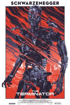 "2014 ""The Terminator"" - Silkscreen Movie Poster by Grzegorz Domaradzki (Gabz) 80s Movie Posters, Cinema Posters, Movie Poster Art, Disney Posters, Poster Series, Print Poster, Vintage Cartoon, Vintage Movies, Vintage Posters"