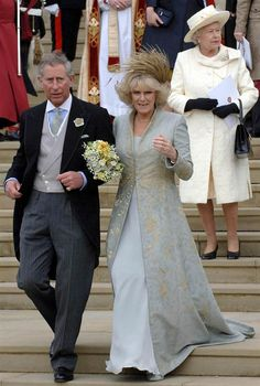 Making it legal With considerably less fanfare than at his first wedding, Prince Charles married Camilla Parker Bowles at Windsor Castle in April 2005. The queen opted for an off-white coat dress to attend the blessing at a church, although she sat out the couple's civil ceremony.