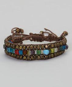 Brown & Gold Beaded Macrame Bracelet. great combination of braid.