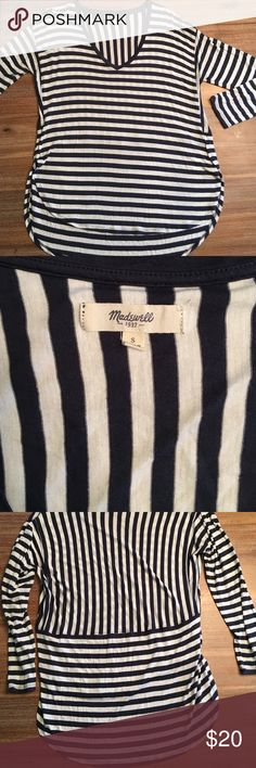 Madewell | Hi-Lo 3/4 Sleeve Top EUC - navy & white striped Hi-Lo top. Madewell brand 😍 Very cute back with both horizontal & vertical stripes! Soft - 100% Viscose. Madewell Tops