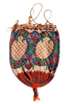 Delicate antique micro beaded reticule.  To accompany a late Georgian dress in red and cream stripes, and wide hem frill.  To worn with a plumed beaded hair bandeaux.